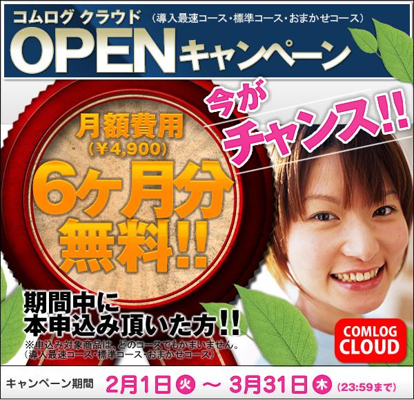 月額費用6ヶ月無料・ホームページオープンキャンペーン